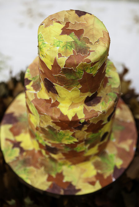 Wedding-Cakes-NJ-Leaf-Collage-Custom-Cake-PV